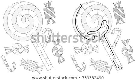 Zwart wit cartoon snoep lolly puzzel kinderen Stockfoto © Natali_Brill