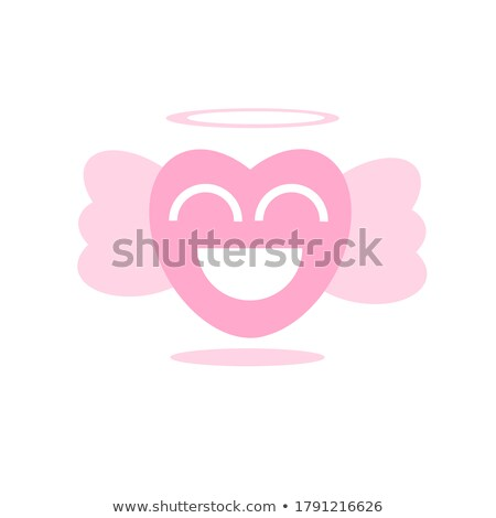 Melek kırmızı kalp karikatür yüz karakter Stok fotoğraf © hittoon