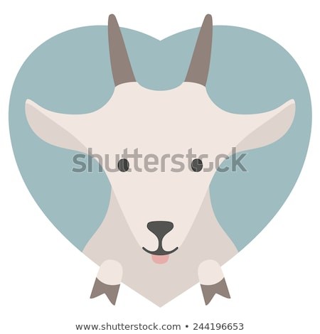 Animal set. Portrait of a goat in love. Flat graphics Stock photo © FoxysGraphic