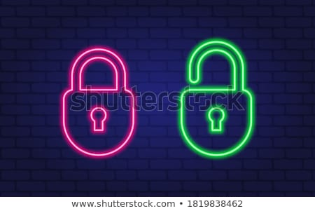 Lock and unlock icon set on black and white background Stock photo © Imaagio