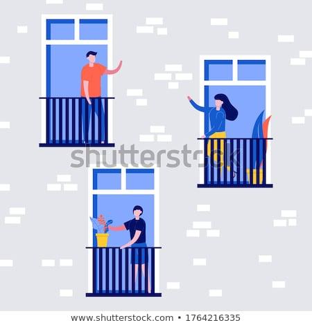 Férfi áll erkély portré kint Spanyolország Stock fotó © IS2