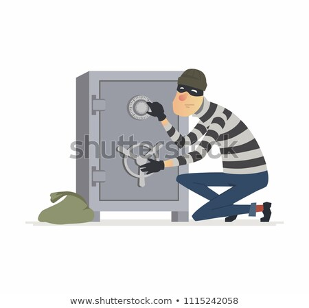 thief stealing money from safe at crime scene Stock photo © dolgachov