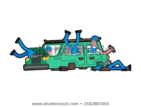 Car repair. Mechanic at work. Engine started to boil. Open hood. Stock photo © MaryValery