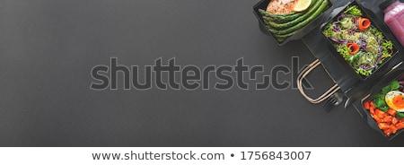 egészséges · étel · ebéd · doboz · gyümölcs · háttér · hús - stock fotó © M-studio