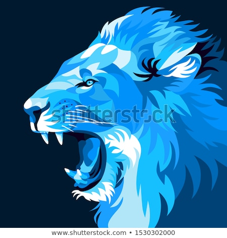 Blue Lion or Leo Icon Vector Illustration Stock photo © cidepix