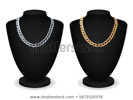 Luxury Golden Necklaces on Black Mannequins Vector Stock photo © robuart