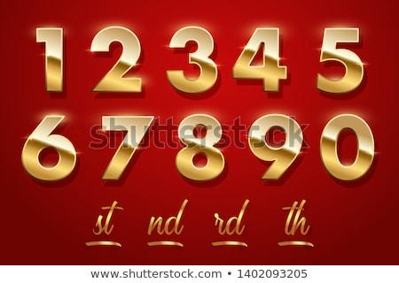 Goud nummers ingesteld geïsoleerd witte Stockfoto © Oakozhan