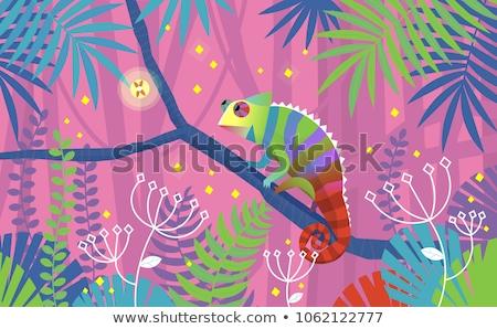 Foto stock: Desenho · animado · camaleão · sessão · ilustração · sorridente · bebê