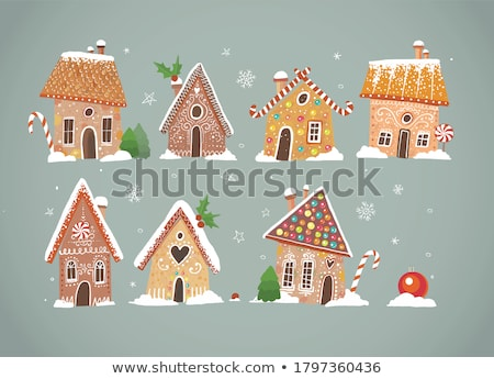 vector xmas colorful gingerbread house stock photo © freesoulproduction