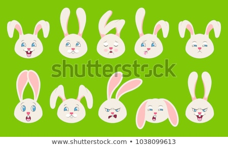 Heads of Rabbit with Different Emotions - Smiling, Sad, Anger, Aggression, Drowsiness, Fatigue, Mali Stock photo © smeagorl