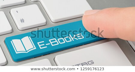 Klavye mavi düğme Internet teknoloji eğitim Stok fotoğraf © Zerbor