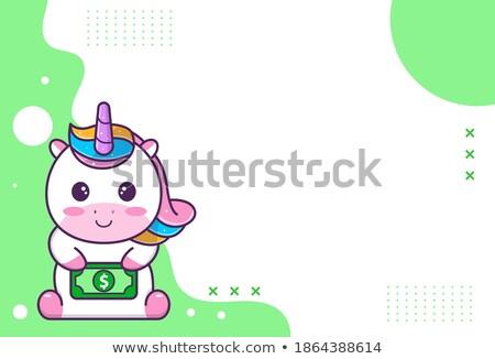 Purple unicorn holding star Stock photo © bluering