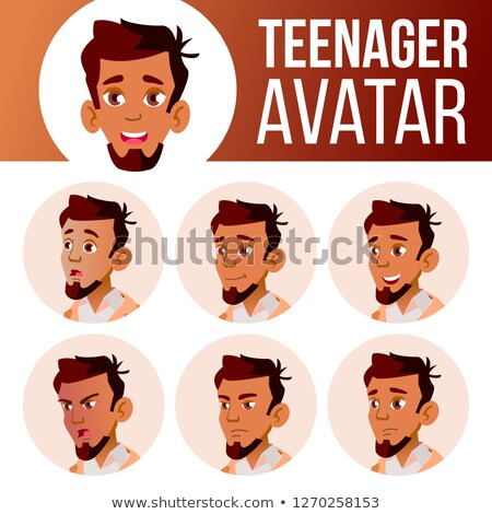 Arab, Muslim Teen Boy Vector. Teenager. Fun, Cheerful. Face Emotions, Various Gestures. Animation Cr Stock photo © pikepicture