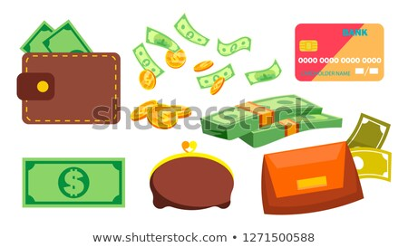 Wallet, Money, Coins Vector. Purse. Bill. Online, Ofline Payments. Isolated Flat Cartoon Illustratio Stock photo © pikepicture