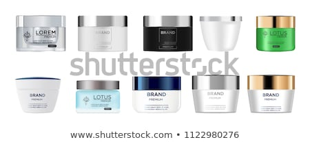 Cosmetic Glass Ads Vector. Bottle. Jar. Empty Glass Bottle, Tube, Box, Jar Package. Skincare Beauty. Stock photo © pikepicture