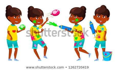 Indian Girl Kid Poses Set Vector. Primary School Child. Spring Holi Festival. Teenager. Hindu. Asian Stock photo © pikepicture