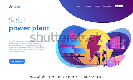 Zonne-energie landing pagina zakenlieden produceren elektriciteit Stockfoto © RAStudio
