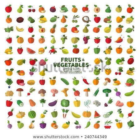 Megőrzött gyümölcs zöldségek szett vektor ikon Stock fotó © robuart