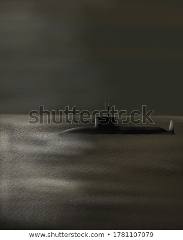 Stockfoto: Submarine On A Background Of A Sunset On The Sea