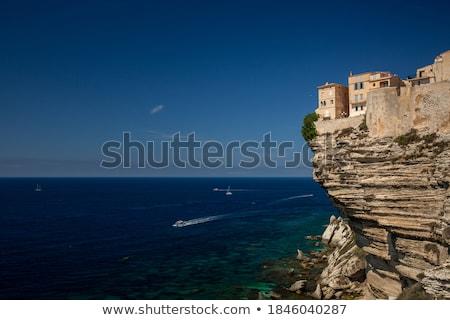 aerial view of the old town of bonifacio the limestone cliff stock photo © lightpoet
