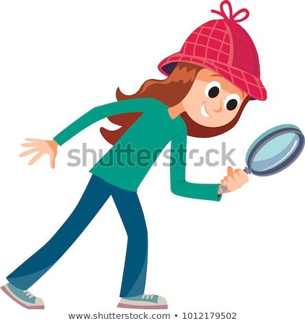 Cartoon улыбаясь детектив девушки счастливым Сток-фото © cthoman