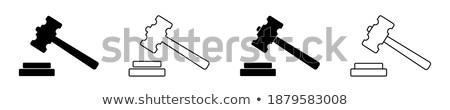 droit · justice · icônes · échelles · juge · marteau - photo stock © blaskorizov