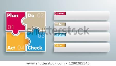 vetor · plano · verificar · agir · diagrama · azul - foto stock © limbi007