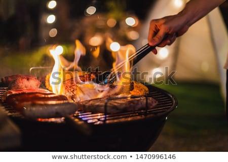 barátok · élvezi · barbecue · kert · csoport · fiatal - stock fotó © boggy