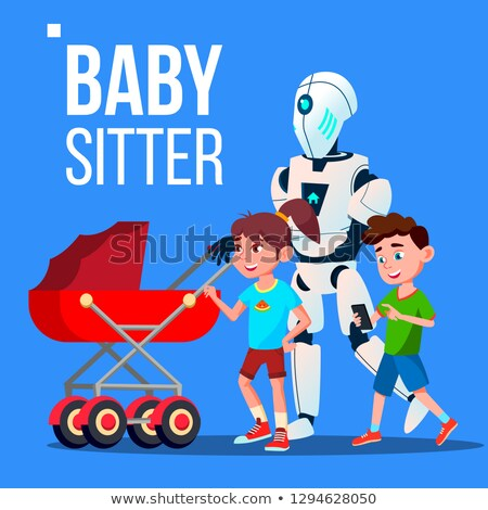 Baby Sitter Robot Going With Baby Carriage Vector. Isolated Illustration Stock photo © pikepicture