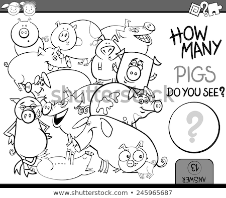 counting game with pigs coloring page Stock photo © izakowski