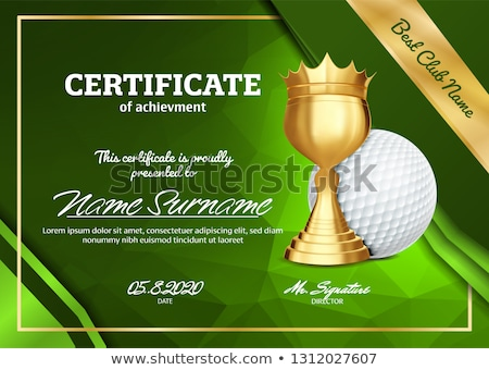 Golf Certificate Diploma With Golden Cup Vector. Sport Award Template. Achievement Design. Honor Bac Stock photo © pikepicture