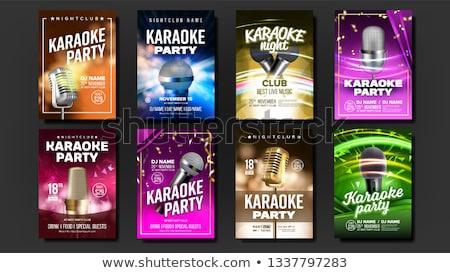 karaoke poster vector sing song karaoke dance event vintage studio musical record broadcast obj stock photo © pikepicture