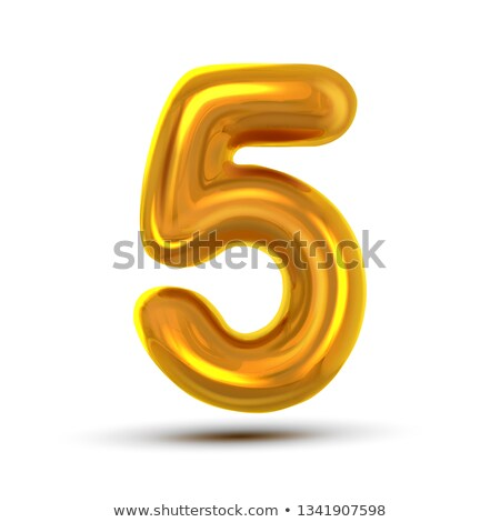 5 Five Number Vector. Golden Yellow Metal Letter Figure. Digit 5. Numeric Character. Alphabet Typogr Stock photo © pikepicture