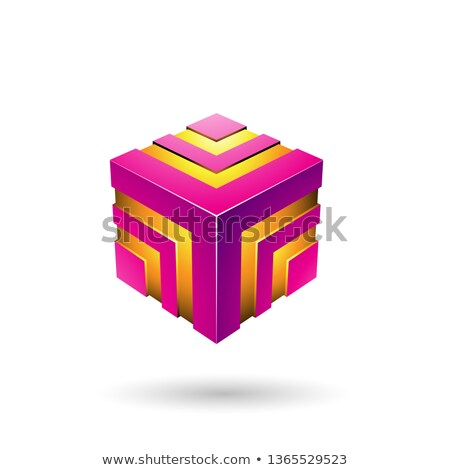 Magenta Bold Striped Cube Vector Illustration Stock photo © cidepix