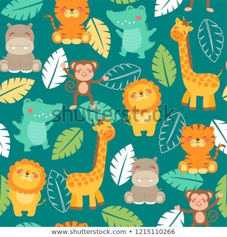 Papír vadállatok illusztráció természet tájkép háttér Stock fotó © colematt