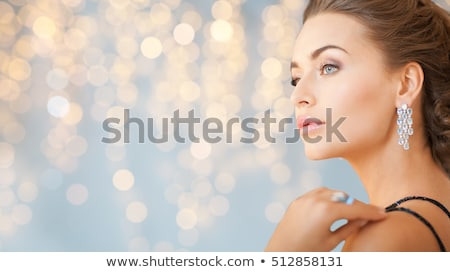 beautiful woman with diamond jewelry on christmas Stock photo © dolgachov
