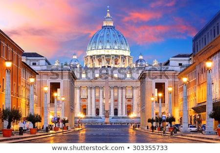 Róma · tetők · színes · naplemente · kilátás · város - stock fotó © xbrchx