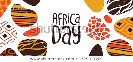 Happy Africa Day banner of tribal african art Stock photo © cienpies