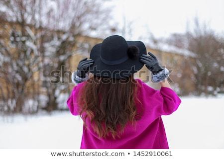 glimlachend · vrolijk · meisje · lang · haar · zwarte - stockfoto © ElenaBatkova