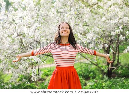 Genießen schönen Blüte Garten Frau Stock foto © galitskaya