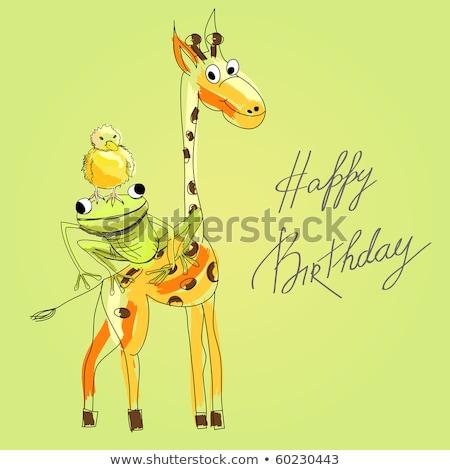 Feliz cumpleaños tarjeta pato ilustración feliz arte Foto stock © bluering