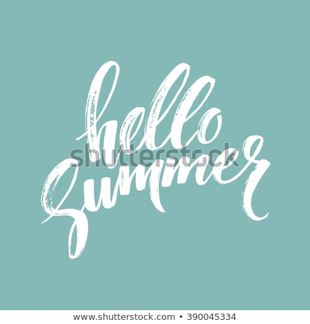 vector hello summer illustration with typography letter and tropical palm leaves on blue background stock photo © articular