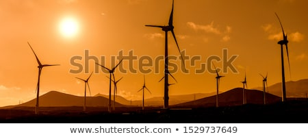 Power Generation Eolic Wind Turbines Field In Spain Stock photo © diego_cervo
