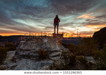 Female takes in the magnificent mountain valley views Stock photo © lovleah