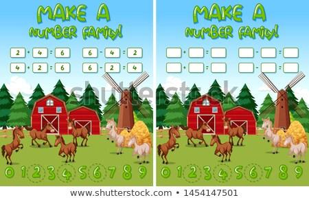Fazenda matemática jogo modelo cavalos objetos Foto stock © bluering