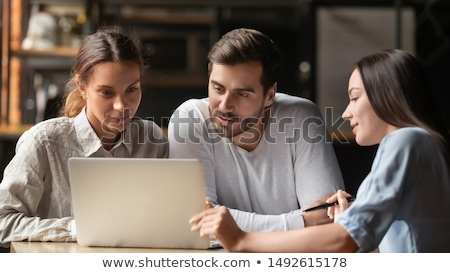 Images of businesswoman showing and presenting for financial gra Stock photo © Freedomz
