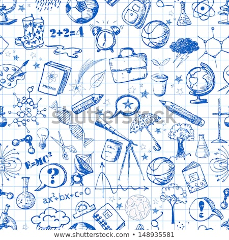 Cartoon cute doodles hand drawn School seamless pattern Stock photo © balabolka