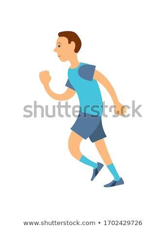 Man Blauw tshirt shorts sokken lopen Stockfoto © robuart