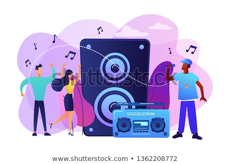 music singer and people dancing in club isolated stock photo © robuart