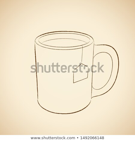 Foto stock: Charcoal Drawing Of A Coffee Mug Icon On A Beige Background Vect